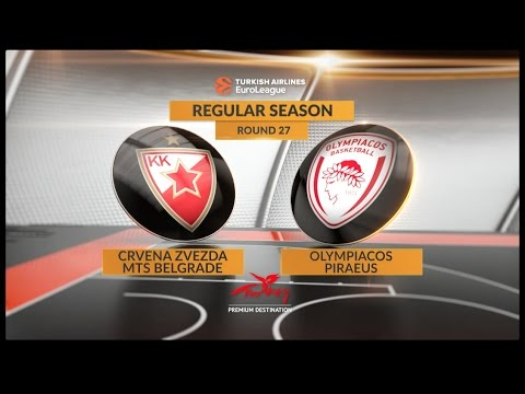 EuroLeague Highlights RS Round 27: Crvena Zvezda mts Belgrade 64-66 Olympiacos piraeus