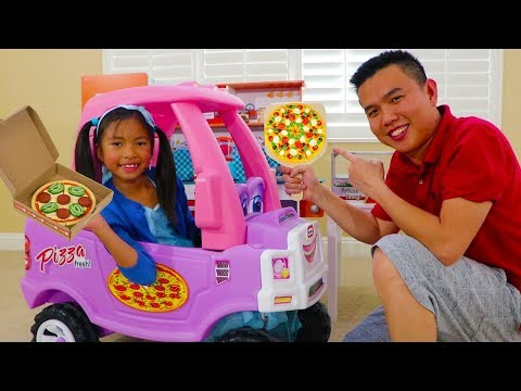 Wendy Pretend Play with Kids Pizza Delivery Fast Food Toy Store
