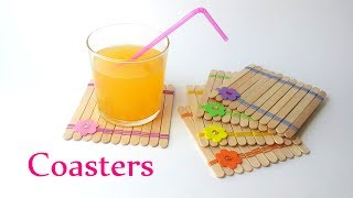 DIY crafts: COASTERS using ice-cream sticks - Innova Crafts - YouTube