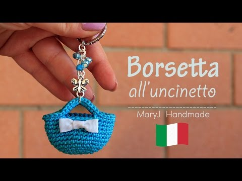 mini borsa all'uncinetto - portachiavi fai da te