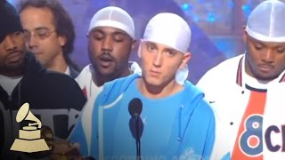 Eminem accepting the GRAMMY for Best Rap Album at the 45th GRAMMY Awards | GRAMMYs