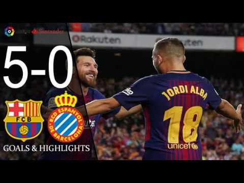 Barcelona vs Espanyol 5-0 - Highlights & Goals - 09 September 2017