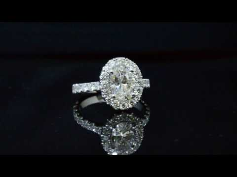 Oval Cut Halo Diamond Engagement Ring U Setting