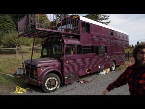 Tour of Double Decker School Bus Conversion - Tiny House
