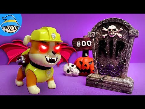 Paw Patrol Rubble became Halloween ghost. Special Halloween Special Story