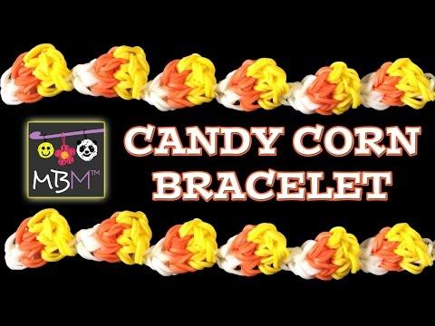 NEW Rainbow Loom Band Candy Corn Bracelet for Halloween