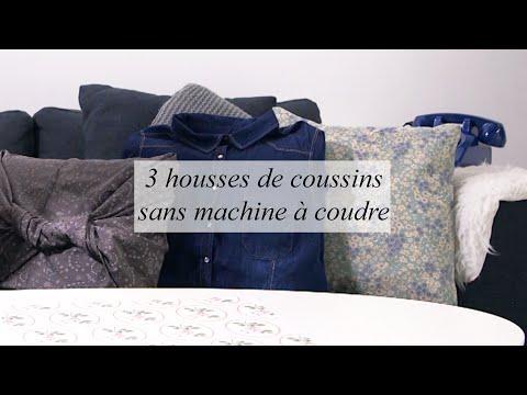 DIY Déco : 3 housses de coussins sans machine à coudre