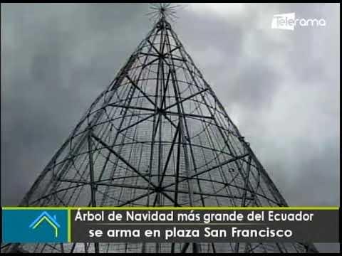 Árbol de Navidad más grande del Ecuador se arma en plaza San Francisco