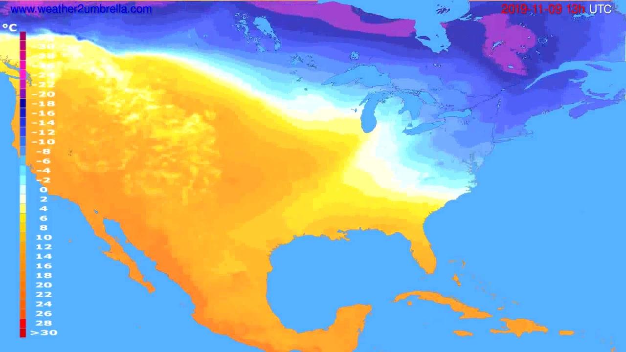 Temperature forecast USA & Canada // modelrun: 12h UTC 2019-11-07