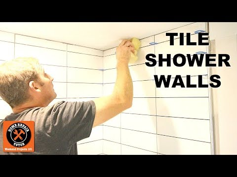 How To Tile A Shower Wall...Stacked Subway Tile Tips -- By Home Repair Tutor