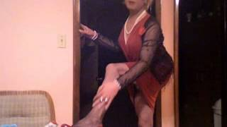 JESSICA SAYYIDA - BLONDE TRANNY IN  RED DRESS AND PANTYHOSE