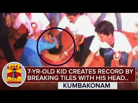7-year-old-Kid-creates-record-by-breaking-Tiles-with-his-head-bending-backwards-Thanthi-TV