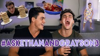 We tweeted and asked if you guys could ask us questions that you wanted us to answer in this vid. THANK YOU to everyone that asked! Hopefully we answered your question but if we didn't were sorry.SUBSCRIBE - http://www.youtube.com/user/thedolant...Previous Video - https://www.youtube.com/watch?v=s3Bbv8kXR84Ethan's StuffINSTAGRAM - https://instagram.com/ethandolan/TWITTER - https://twitter.com/EthanDolanSNAPCHAT - EthanDolanGrayson's ThingsINSTAGRAM - https://instagram.com/graysondolan/TWITTER - https://twitter.com/GraysonDolanSNAPCHAT - GraysonDolan