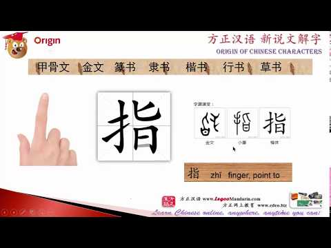 Origin of Chinese Characters - 0369 指 finger, point to - Learn Chinese with Flash Cards - trimmed