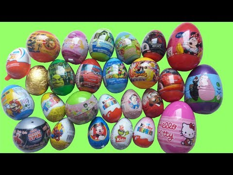 26 Surprise Eggs, Kinder Surprise Cars Monsters University Disney Shrek Mickey Super Mario part 1