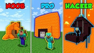 NOOB vs PRO vs HACKER - Volcano Base Challenge! (Minecraft)