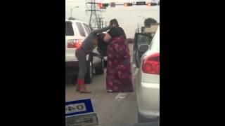 funny ladies fighting on road traffic