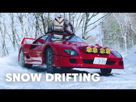 Drifting A Ferrari F40 In The Snow
