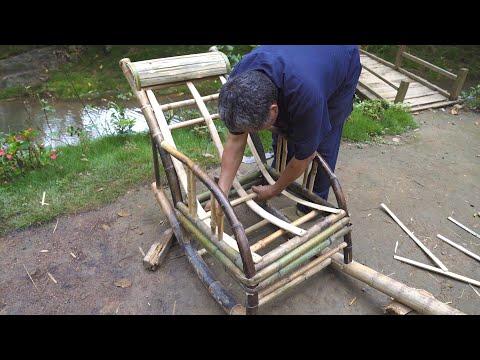 阿木爷爷民间古法造摇椅,一根绿竹的架构重启,太牛了