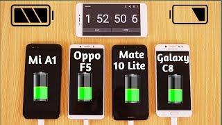 Video Samsung Galaxy C8 vs Oppo F5 vs Huawei Mate 10 Lite vs Xiaomi Mi A1 Battery Charging Test Urdu/Hindi MP3, 3GP, MP4, WEBM, AVI, FLV Februari 2018