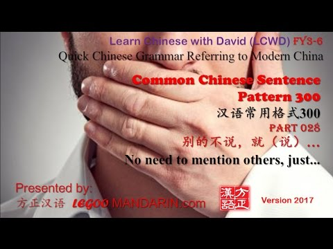 Common Chinese Sentence Pattern 028 别的不说,就 No need to mention others just