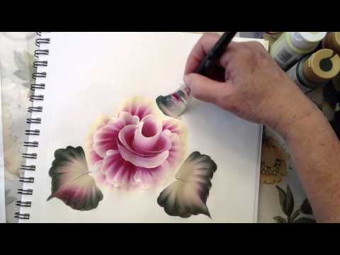 flower painting - How to use the angle brush. This is a demo of the Cabbage Rose using the angle brush. I promised to show everyone what the angle brush can do at the February...