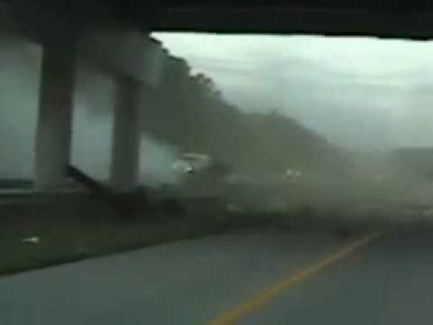 Amazing car crash into overpass