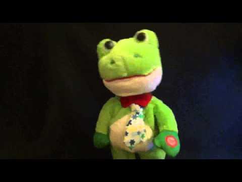 Green dancing plush toy frog