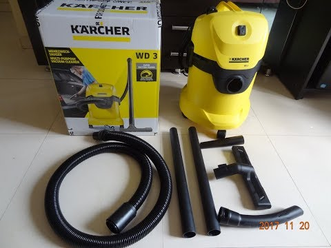 Karcher WD 3 Multi-Purpose Vacuum Cleaner unboxing and demo video