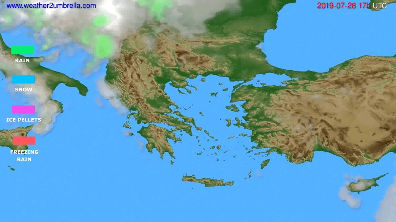 Precipitation forecast Greece // modelrun: 00h UTC 2019-07-27