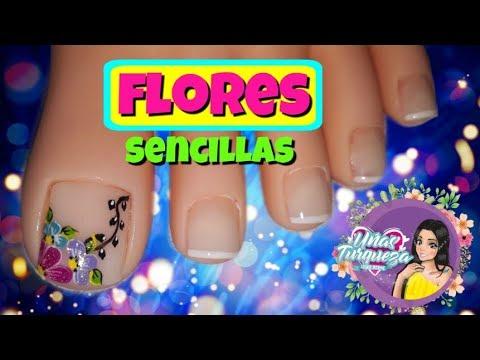 Diseños de uñas - Uñas Turqueza /Diseño de uñas flores/diseño de uñas