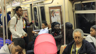 Fight On the A-Train (Brooklyn NYC) Ratchet Chick vs Street Poet