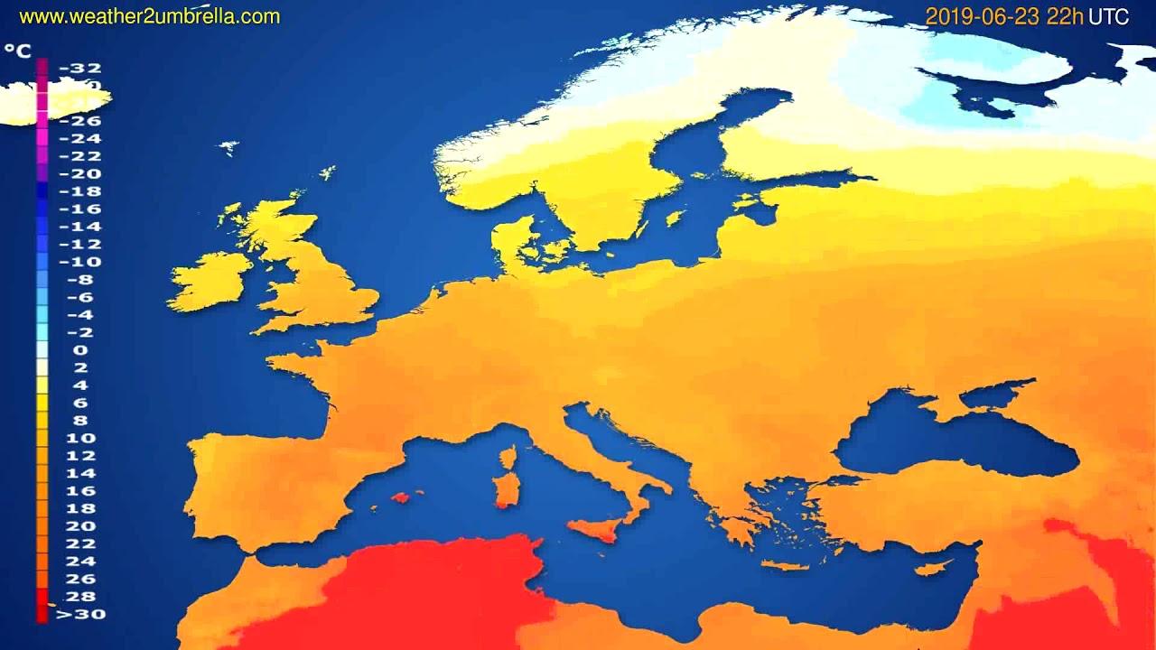 Temperature forecast Europe // modelrun: 12h UTC 2019-06-20