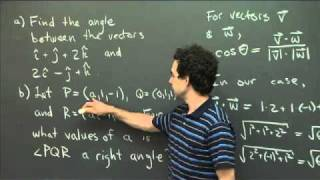 Dot Products And Angles | MIT 18.02SC Multivariable Calculus, Fall 2010