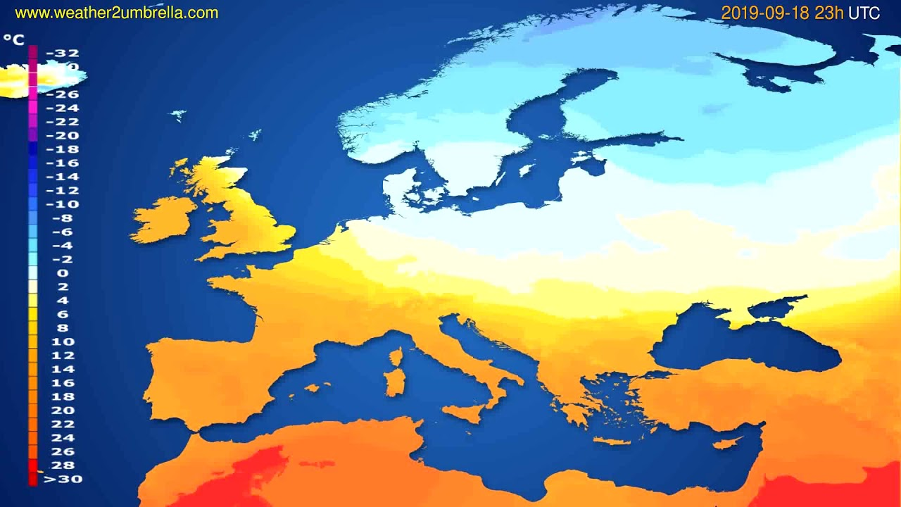 Temperature forecast Europe // modelrun: 12h UTC 2019-09-15
