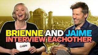 Game of Thrones' Nikolaj Coster-Waldau and Gwendoline Christie quiz each other about Jaime Lannister and Brienne of Tarth -- and Tormund gets brought up ...