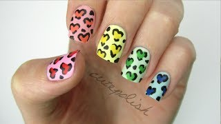 Rainbow Heart Leopard Nails - YouTube