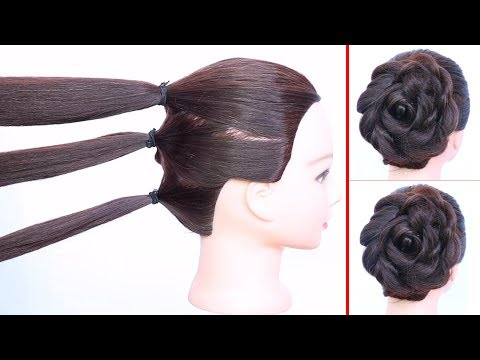 New hairstyle - new rose bun hairstyle with trick  flower bun  wedding hairstyle  easy hairstyles  hairstyle