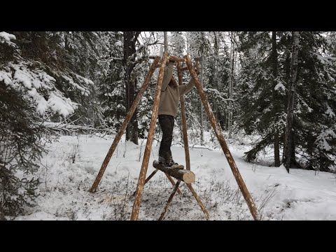 Solo Winter Bushcraft Shelter Build - Building a Log Home in the Canadian Wilderness (Pt. 1/4)