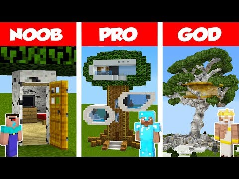 Minecraft NOOB vs PRO vs GOD: Modern Tree House CHALLENGE in Minecraft / Animation