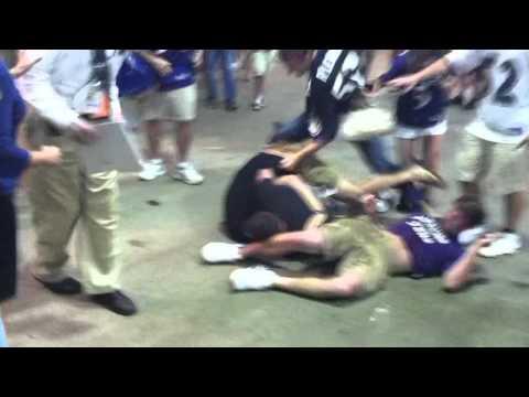 chiefs - 3 ravens fans vs 1 chiefs fan fight after preseason game on 8/19/2011.