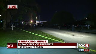 There is a heavy police presence in Fort Myers off Grove Ave.