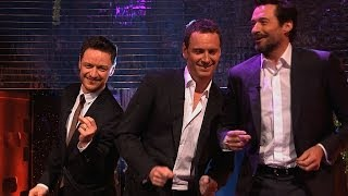 Hugh Jackman, Michael Fassbender & James McAvoy dance to Blurred Lines - The Graham Norton Show