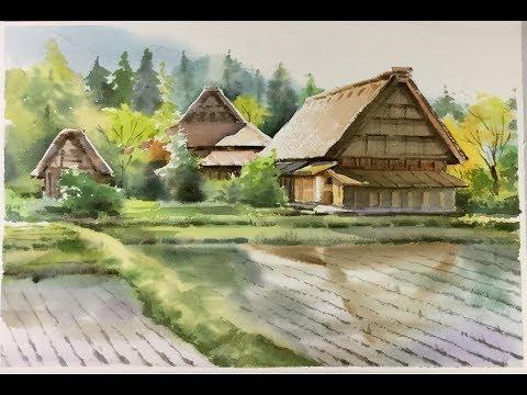Watercolor Landscape painting : Cottages at Shirakawa village, Japan (видео)
