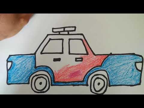 Vẽ ô tô cảnh sát - Police car drawing - kentv