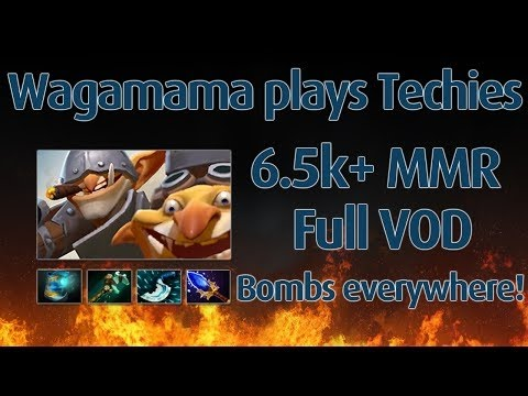 Wagamama plays techies 14-3 Dota 2 6.5k MMR Ranked