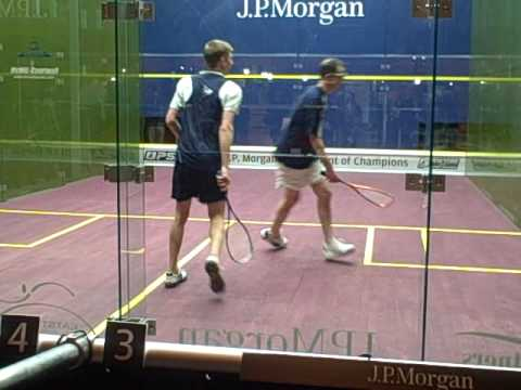 Stewart Boswell punishes an amateur onthe squash court (part 1)