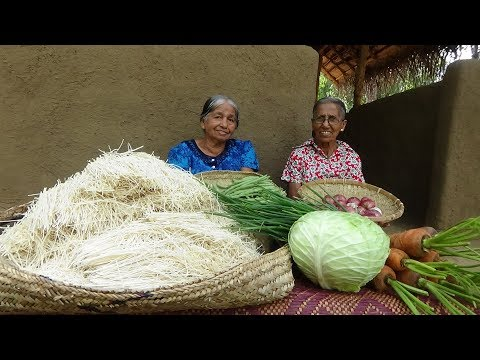 Veg Noodles Recipe ❤ Chilli Garlic Hakka Noodles prepared by Grandma and Mom | Village Life