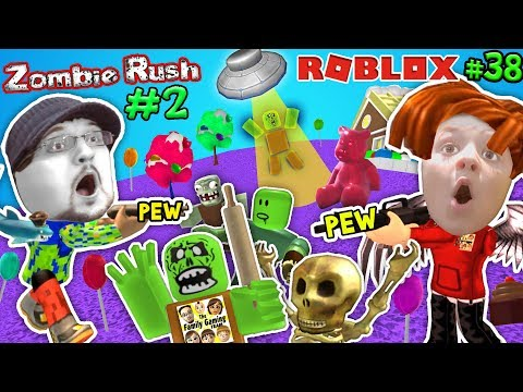 ROBLOX ZOMBIE RUSH #2! UFO Spaceship Friend & Candy Land! FGTEEV Rolling Pin! Gameplay Chase (#38) (видео)