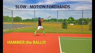 In this video, Hammer It Tennis Creator, Coach Daniel Dodson is filmed in slow motion to capture his inside out forehand so you can see important key positions and how a completed Hammer It Tennis forehand hammers the ball!
